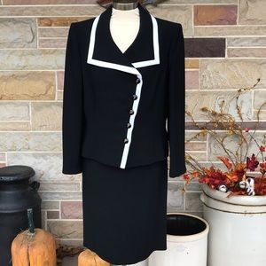 Tahari Black and White Suit